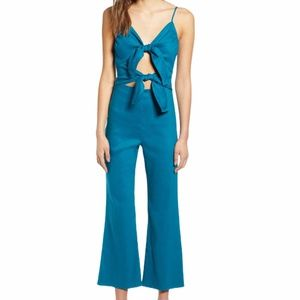 NWT Teal Leith Tie Front Jumpsuit Size Med